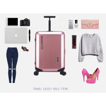 28 inch 4-Wheel  Luggage Inova Spinner Metallic Rose Gold Suitcase
