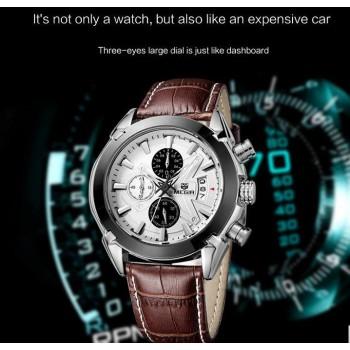 MEGIR Luxury Military Men Quartz Watch Chronograph Leather Clock Man Sports Army