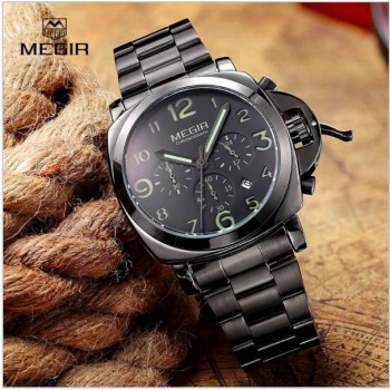 Megir men fashion quartz watch analog wristwatch man waterproof business watches