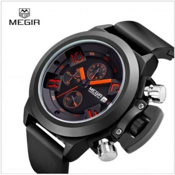 MEGIR Fashion waterproof quartz watch for men sports running silicone no.2002G