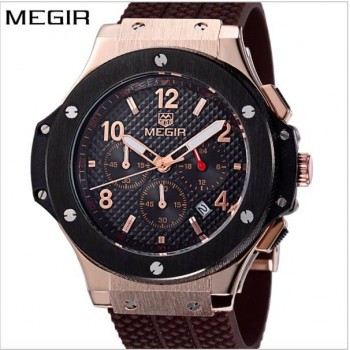 MEGIR mens army calendar rubber male clock sport luxury watch military stylish.