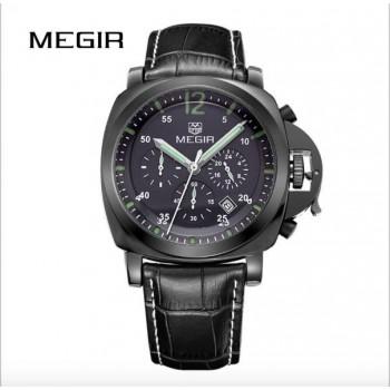 MEGIR Top Brand Luxury Famous Wristwatches Male Clock Leather Watch Business BLK