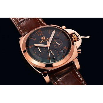 MEGIR Top Brand Luxury Famous Wristwatches Male Clock Leather Watch Business BRW