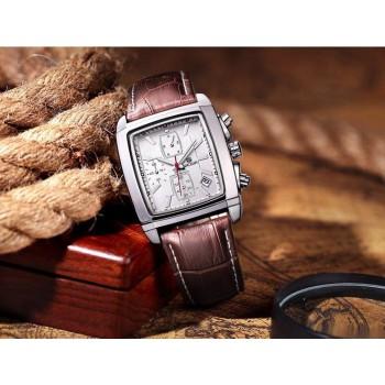 MEGIR Rectangle Auto Date Chronograph Leather Men Quartz Wrist Watches BROWN