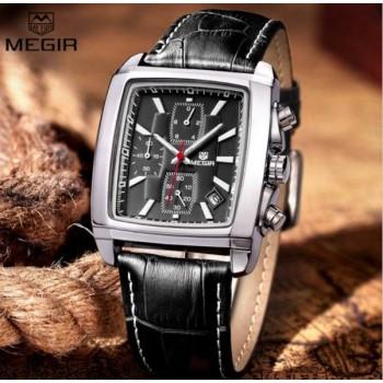 MEGIR Rectangle Auto Date Chronograph Leather Men Quartz Wrist Watches BLACK