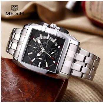 Megir Business Stainless Steel Best Quartz Wrist Mens Watches Luxury Army Clock